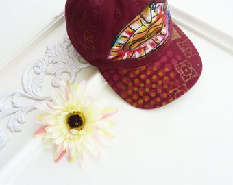 Hand painted baseball cap, red, metallic gold, artsy hat, visor, OOAK, hiking, beach, wearable art, sport hat, upcycled, women, streetwear