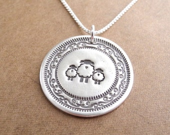 Mother and Twin Sheep Necklace, Mom and Two Kids, Twin Jewelry, Family Necklace, New Mom, Fine Silver, Sterling Silver Chain, Made To Order