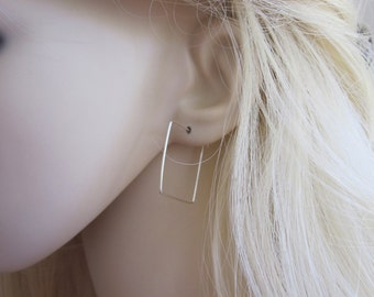 SQUARE sterling silver, yellow or rose gold filled wire hoop earrings, modern, geometric earrings