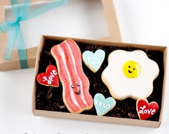 """Half Dz. """"We Go Together Like"""" Bacon and Eggs Cookies! Is Breakfast Your Lover's Favorite Part of the Day?"""