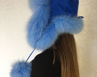 Blue and Black Dyed Fox Fur-Trimmed Viking Hat with Black Suede Top --- Norse/Scandinavian/Norway/Sweden/Faux Fur/Headwear/Cap iXPSwE