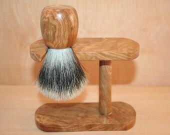 Badger shaving on wooden base