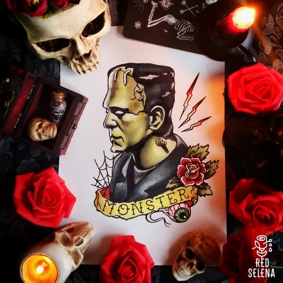 Original painting and prints Frankenstein Tattoo Flash  Original painti...