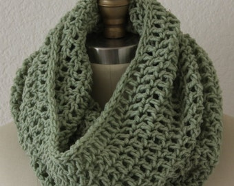 Extra Large Tube Cowl Snood  Sage Green Crochet