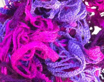 Crocheted scarf, ruffle scarf, pink and purple scarf