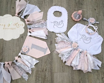 """The """"Pink Winter Onederland"""" Collection.Pink & Silver Fabric Tutu,Cake Smash outfit, First Birthday Girl, Birthday Outfit, High Chair Banner"""