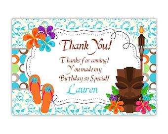 Luau Thank You Card - Turquoise Blue Damask, Hawaiian Flower Luau Personalized Birthday Party Thank You Card - Digital Printable File