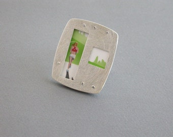SMaddock OOAK Sterling Silver Layered Window Ring Recycling Runner Jogging