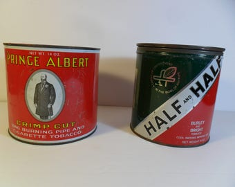 Pair of Vintage Tobacco Tin Cans~Prince Albert~Half and Half