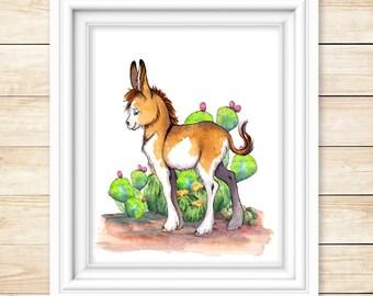 Donkey Art Print Set Nursery Illustration Watercolor Kid Art Farm Animal Art Watercolor Animal Print Set