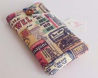 Tickets Please - Padded Phone Case Pouch Sleeve Cover iPhone X 8 7 6 6s Plus Samsung Galaxy S9 / + Google Pixel 2 / XL Vintage Style Fabric
