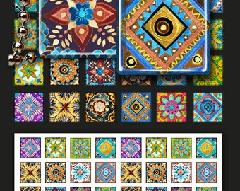 Printable hand painted ETHNIC TILES SAMPLERS for pendants, magnets, craft projects. Instant digital download, print-it-yourself, ArtCult.