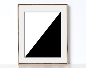 Triangle Decor Printable Black and White Digital Download Printable Art World Decor California Wall Art Office Print French Design Scandi