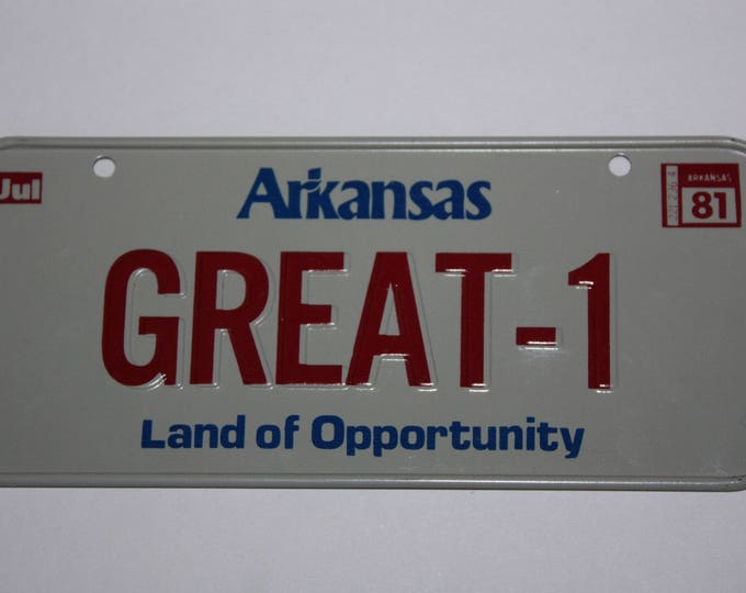 1981 Arkansas Land of Opportunity Wheaties Post Cereal Premium Bike Mini Metal License Plate
