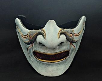 Half cover  Knight Samurai Mask, Airsoft mask, Halloween Costume Cosplay mask, Evil Oni Hannya Kabuki mask, Steampunk wall mask white MA227