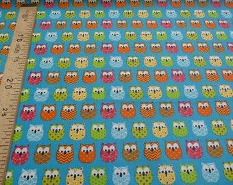 Turquoise owls 160 cm coated cotton