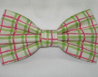 Watermelon Plaid Pre-tied Bow Tie | Plaid bow ties | Pink bow ties | Lime Green bow ties | Wedding bow ties | Summer time| bow ties for boys