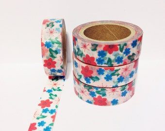 SALE Red Pink Blue Floral Washi Tape 11 yards 10 meters 15mm Pale Pink Flowers Red Flowers Blue Flowers Green Leaves