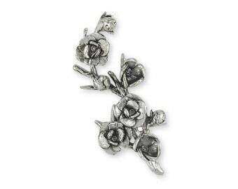 Magnolia Brooch Pin Jewelry Sterling Silver Handmade Flower Brooch Pin MGS2-BP