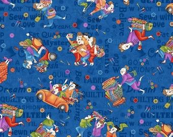 Shop Hop by Bonnie Krebs Fabric /  Shop Hop Fabric 8670 Henry Glass / By The Yard / 1/2 Yard Cuts / Yardage and Fat Quarters