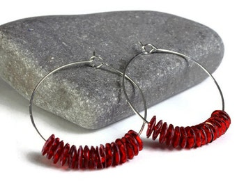 Red sequins hoop earrings (641)