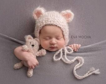 Knitting/crochet PATTERN - Newborn Size Knit /crochet tiny Bear  - Instant Download PDF - Photography Prop for newborn size bear