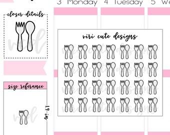 Kawaii Utensil Planner Stickers | 009