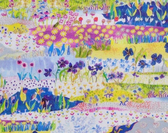 Liberty fabric Tana Lawn - Posy Landscape  - 9''x26'' Fat Eighth -blue/pink/yellow - 2016 Spring/Summer Collection