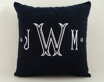 Pillow Cover | MONOGRAM PILLOW | Sunbrella Indoor Outdoor Pillow | Initials Pillow | Embroidered Pillow | Letter Pillow | Monogrammed Sham