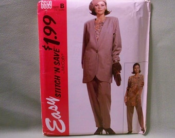 McCall's Pattern - 6659 - Misses Jacket, Tunic And Pants - Size B (16,18,20) - Factory Fold, Never Trimmed