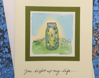 """Jar of Fireflies  3-D card~ """"You light up my life...!"""""""
