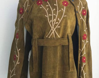 Vintage 1960's Spectacular Ladies Leather Suede Poncho with Amazing Applique