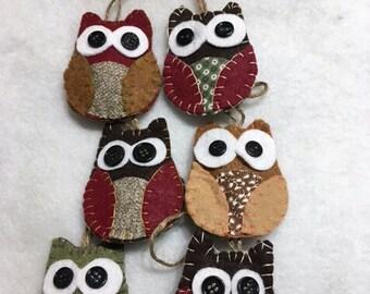 Rustic Felt Owl Christmas Ornaments