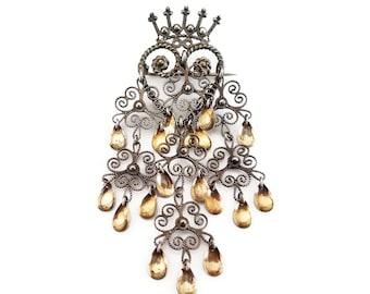 Sterling Silver Solje Heart Crown Brooch - Norwegian Wedding Jewelry, Love Token, Sterling Filigree Pin, Scandinavian Pin, Vintage Brooch