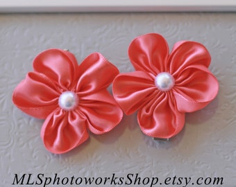 Coral Flower Hair Clip Set - Coral Pink Satin Flowers with Pearls - Coral Wedding Clips