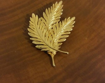 Vintage Gold Fern Brooch, Branches, Leaves, Gold Toned Pin