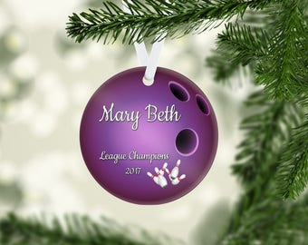 Bowling Ball Purple Ornament