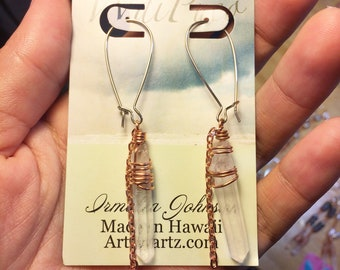 Quartz crystal and copper earrings