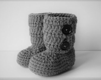 Baby Ankle Boots -Crochet Baby Booties -light grey or dark grey-