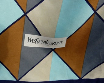 Vintage Authentic diamond motif  YSL logo signature silk scarf