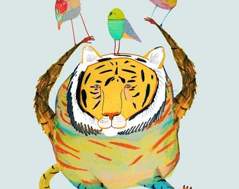 Nursery decor, nursery wall art, Kids poster, nursery poster, poster kids, kids room poster, kids decor, Tiger and Birds.