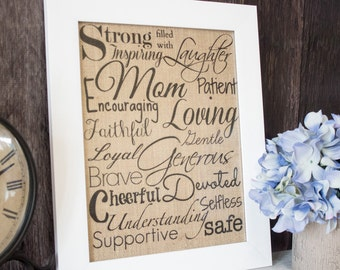 Mother's burlap wall art - Inspirational burlap wall art for New Mothers or a Mothers Day gift for your Wife or Mom