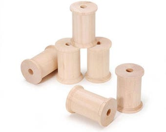 """2.25"""" Set of 6 Blank Unfinished Wooden Spools"""