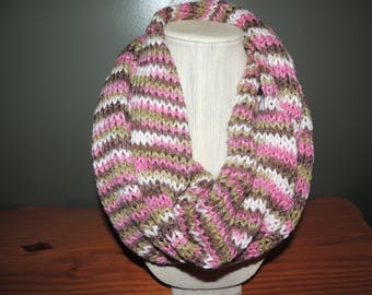 Infinity scarf, Variegated, Pinks, tans and white.  Hand knitted.