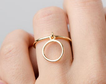 Open Circle Dangle Ring, Sterling Silver Gold Vermeil, Charm Ring, Dainty Statement Ring, Hand Made, Gift for Friend, Lunaijewelry, RNG030