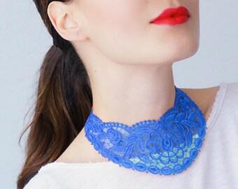 Blue Necklace Venise Lace Necklace Lace Jewelry Bib Necklace Statement Necklace Body Jewelry GiftCustom/ UDINE