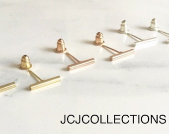 Tiny  Gold Bar Earrings, Simple, Chic