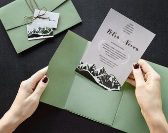 Iceland Wedding Invitation | Rustic Nature | Mountain | Travel Themed