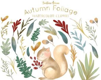 Autumn Foliage clipart Watercolor foliage watercolor leaves clipart leaf wreath clipart woodland clipart squirrel clipart leaf clipart