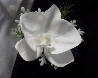 Boutonniere - Faux White Phalaenopsis Orchid Boutonniere With Royal Blue Ribbon - Prom Boutonniere - Wedding Boutonniere